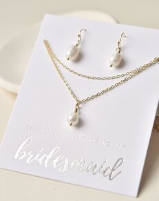 Dareth Colburn Layered Pearl Drop Bridesmaid Jewelry Set (JS-1708-BR) Wedding Necklace photo