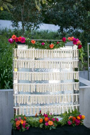 Elegant Escort Cards with Flowers and Greenery