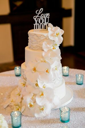 Wedding Cake with Orchids and Custom Silver Cake Topper