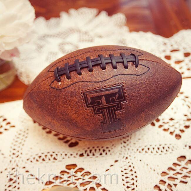 Matt wrapped Shawna's garter around a Texas Tech University football and threw it into the crowd.
