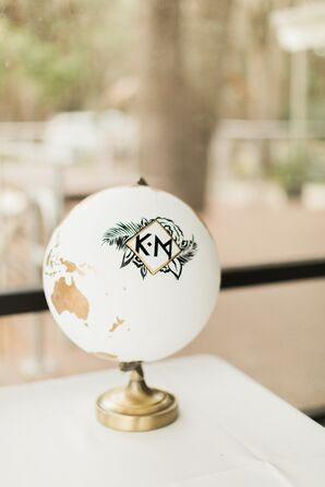 Black-and-White Monogrammed Globe Guest Book