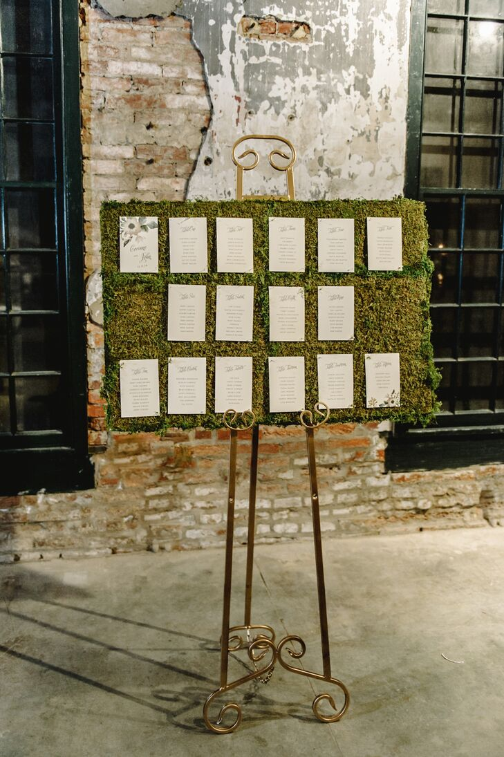 Guests found their seats on cream-colored felt paper pinned to the moss-covered board. The display went along with the rustic style of Mount Washington Mill Dye House in Baltimore, Maryland.
