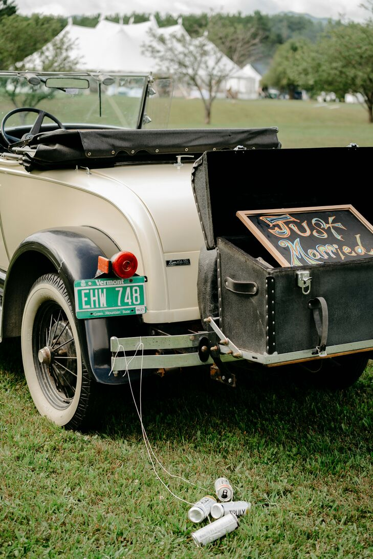 Getaway Car Sign at Wedding in Stowe, Vermont