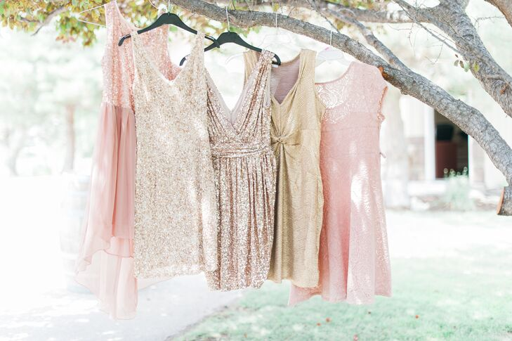 """I didn't want all my bridesmaids to wear the same dress, so I told them they could pick what they wanted, as long as it was a shade of blush or gold. It turned out beautifully, with two of them in gold and three in blush."""