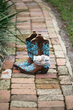 Cowgirl Boots With Teal Embroidery
