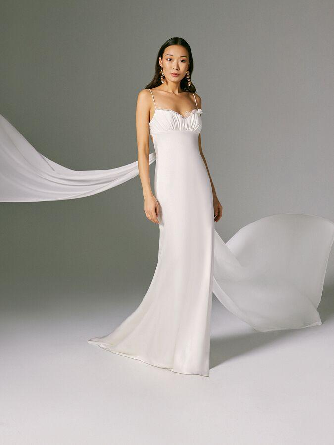 Savannah Miller matte and shine satin wedding dress with spaghetti straps