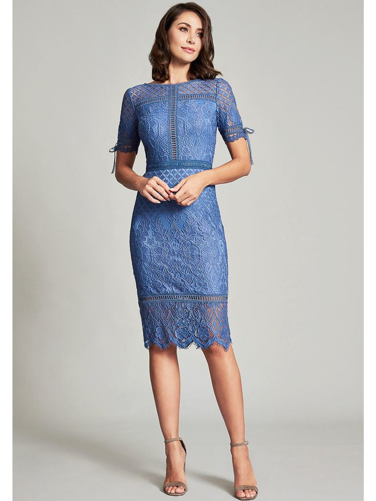 Fitted blue lace midi dress with tie sleeves
