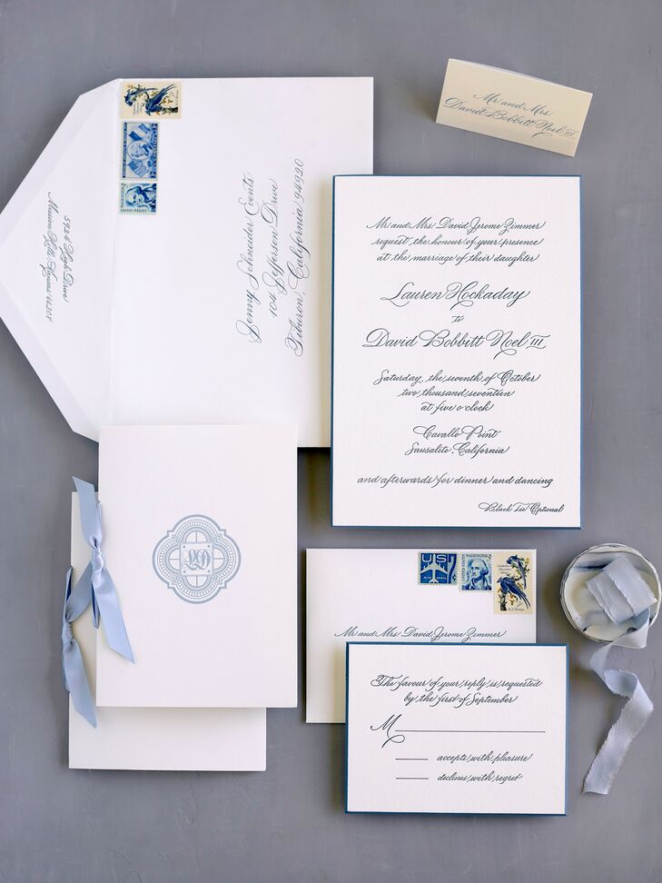 Formal Invitations with Blue Monogram and Ribbon