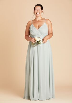 Birdy Grey Kaia Dress Curve in Sage V-Neck Bridesmaid Dress