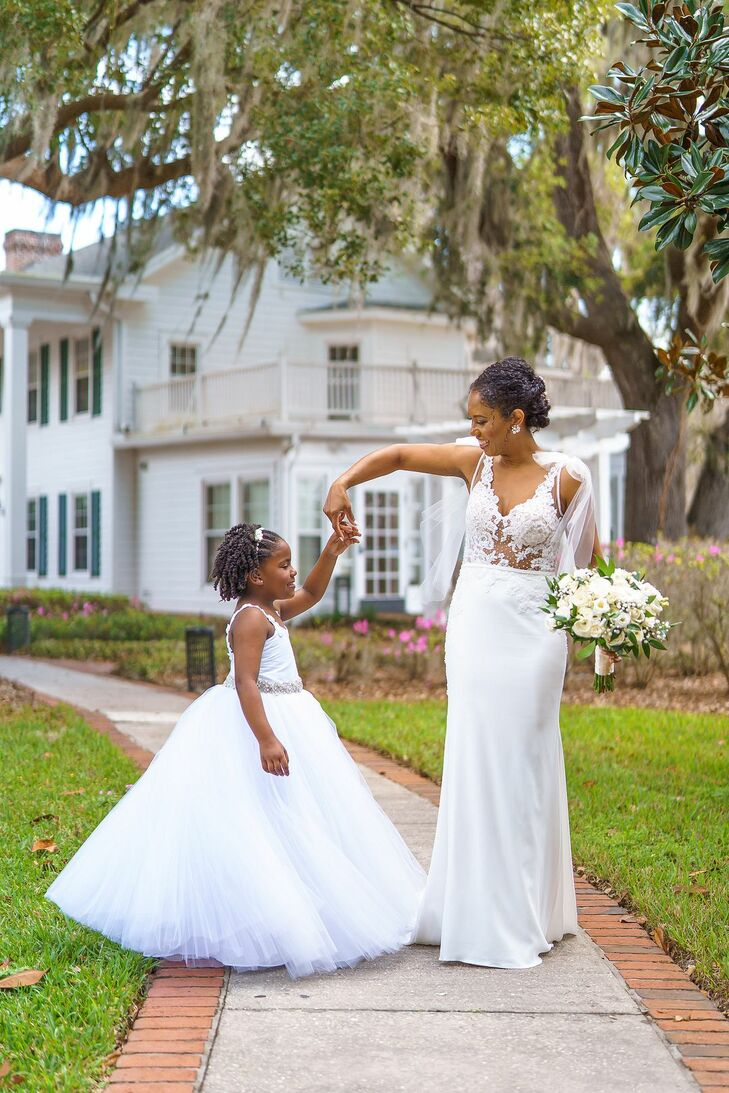 Bride and Flower Girl at Cypress Grove Estate House in Orlando, Florida