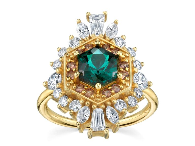 Blue-green tourmaline engagement ring with diamond baguette, round and marquise halo