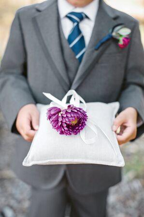 Purple Dahlia on Ring Pillow