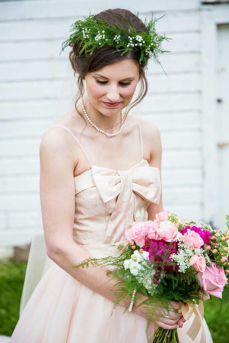 Flower crown wedding hairstyles for brides and flower girls fern flower crown izmirmasajfo