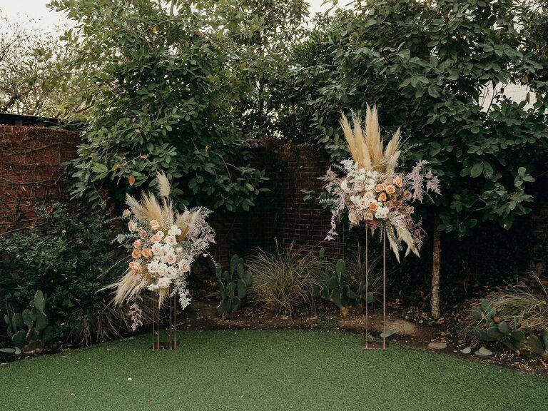Backyard wedding ideas two piece arch