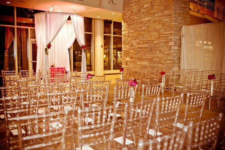 Clear chiavari chairs created a modern look for the ceremony.