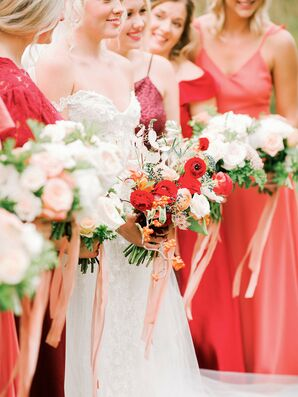 Vibrant Red Bridesmaids Dresses and Bouquets