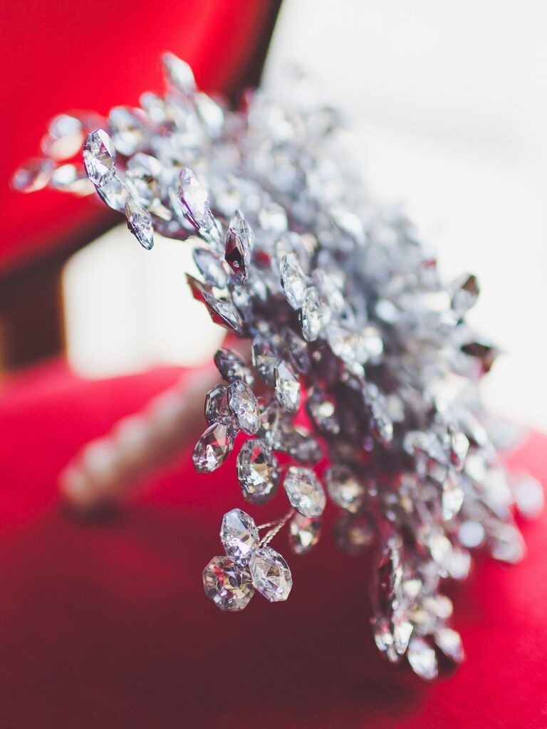 glamorous non-floral crystal wedding bouquet