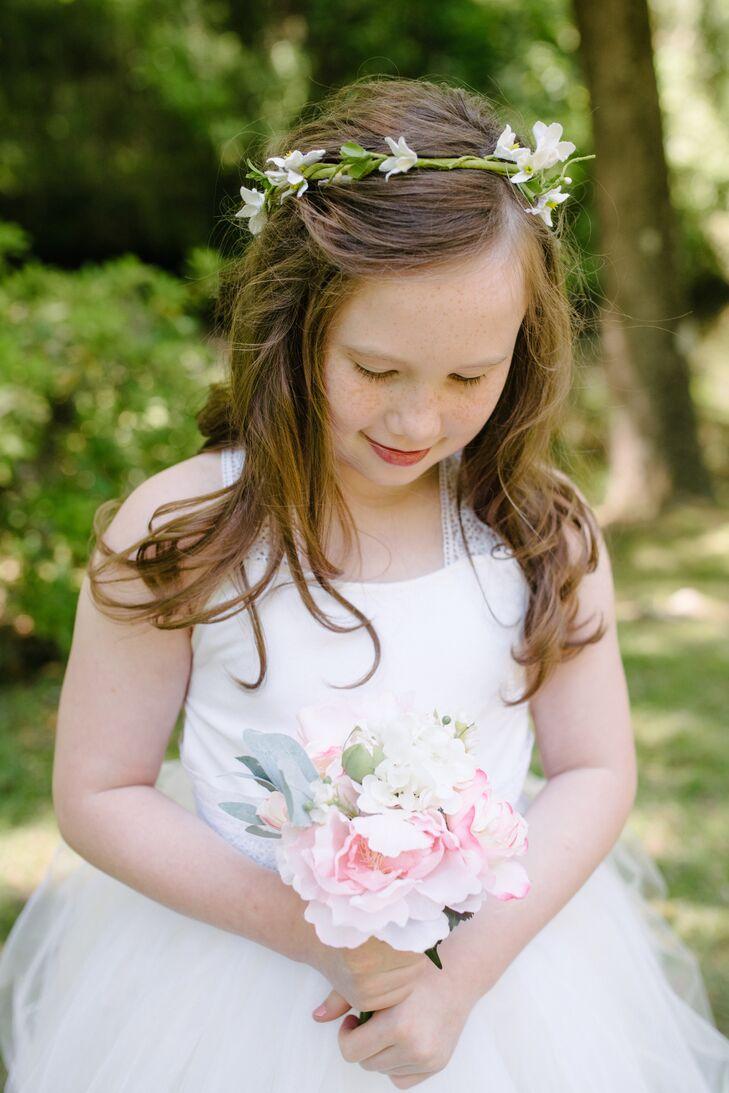 Simple White Freesia Flower Girl Flower Crown