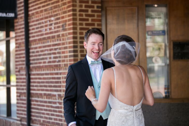 Chris's face lit up with happiness when he saw Lindsey for the first time in her ivory dress, while he sported his black tuxedo with a mint green bow tie and vest.