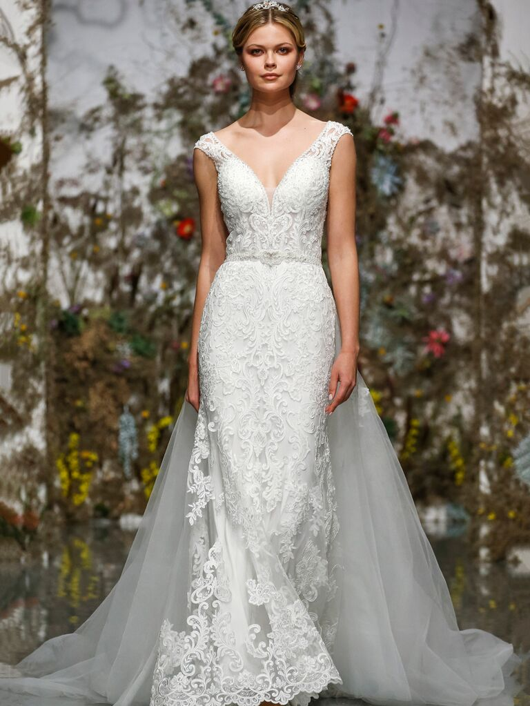Morilee by Madeline Gardner Spring 2020 fitted wedding dress with tulle train