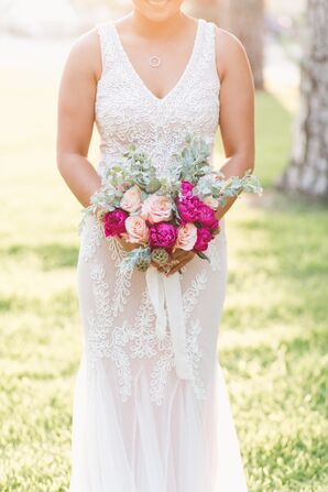Bright Pink Peony and Rose Bouquet