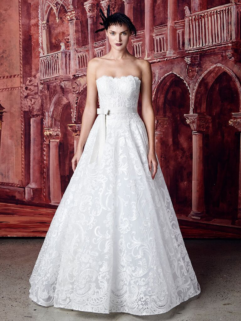 Isabelle Armstrong strapless lace ballgown