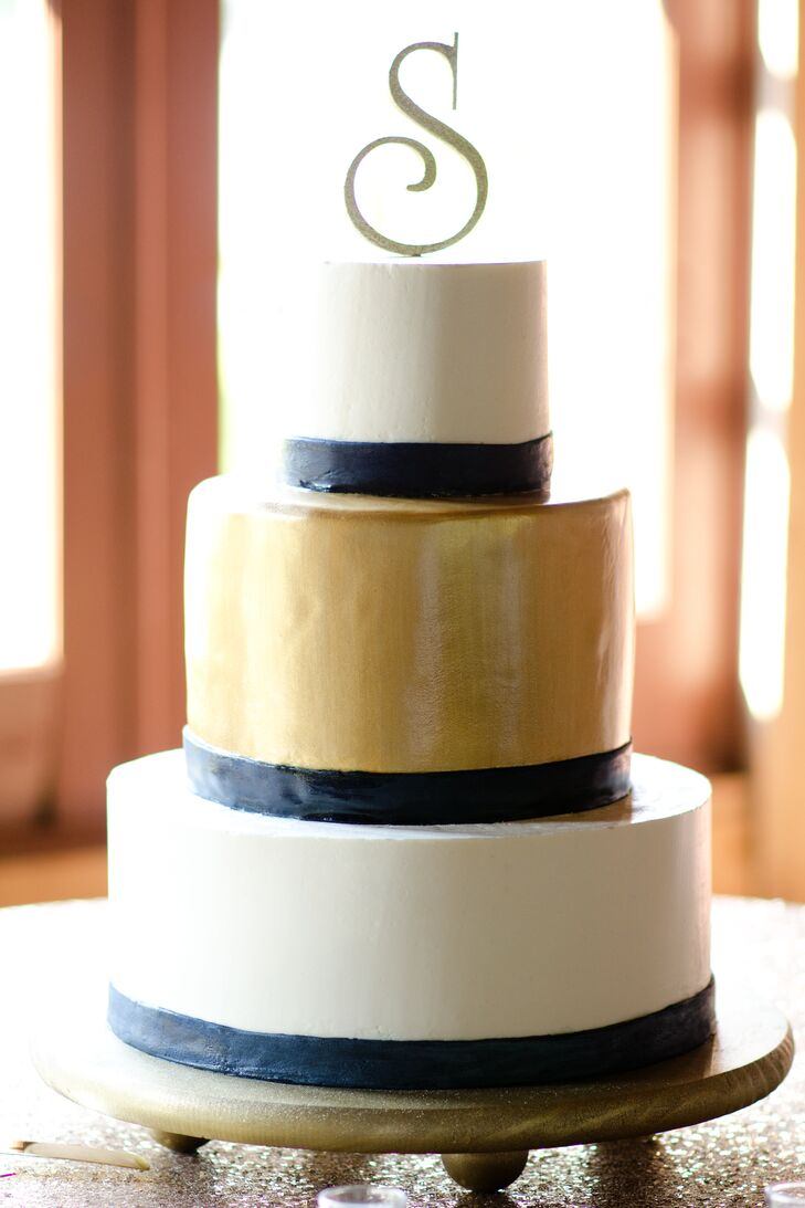 White Gold And Navy Tiered Wedding Cake