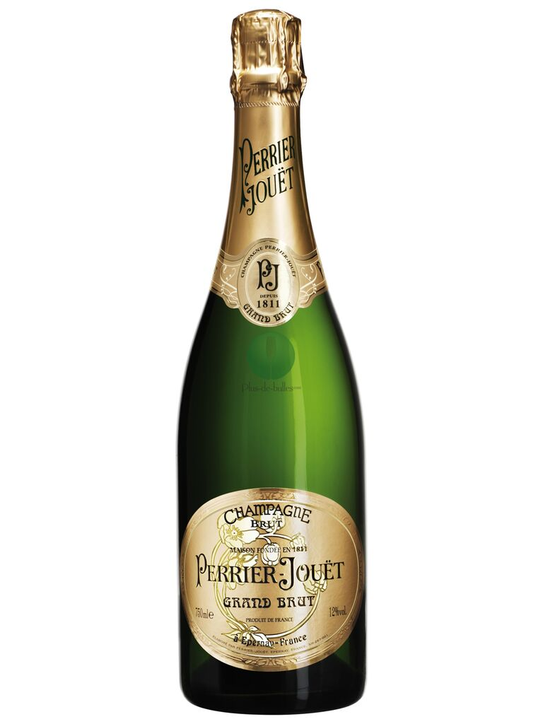 Bottle of Perrier-Jouet grand brut champagne 15-year anniversary gift