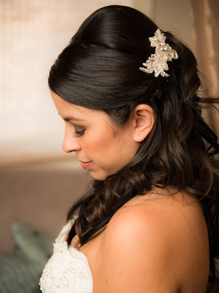 Vintage wedding hairstyle with glamorous hair accessory