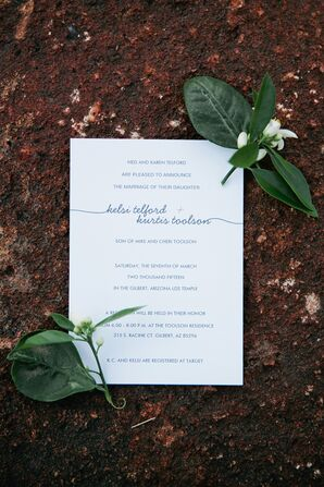 Simple White Wedding Invitations with Navy Font