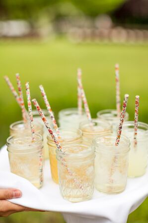 Mason Jar Cocktails Served With Printed Paper Straws