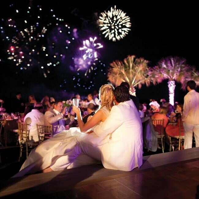 As the reception came to a close, a fireworks show kicked off the after-party held on the beach.