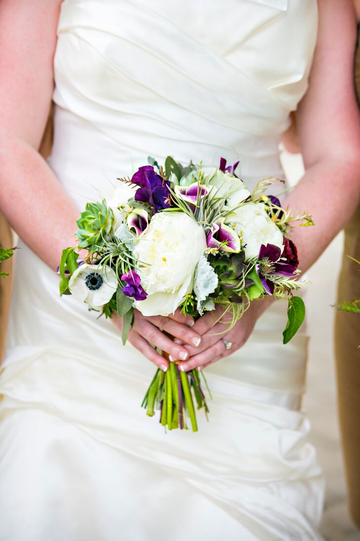 Whimsical Peony, Anemone, Calla Lily and Succulent Bouquet