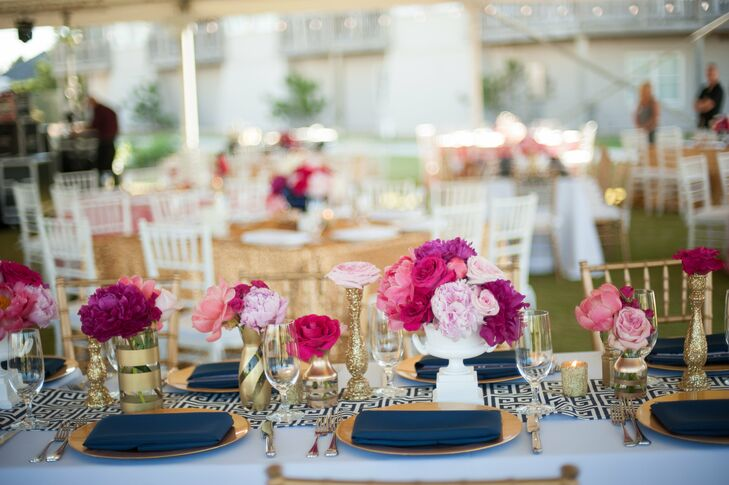 """All of the rectangular tables were designed off of a colorful, Kate Spade look soft peony arrangements. """"I knew I wanted color, lots of patterns, bows and tons of  glitter accents, but I didn't want it to be a circus!"""" says Katey. rn rnrn"""
