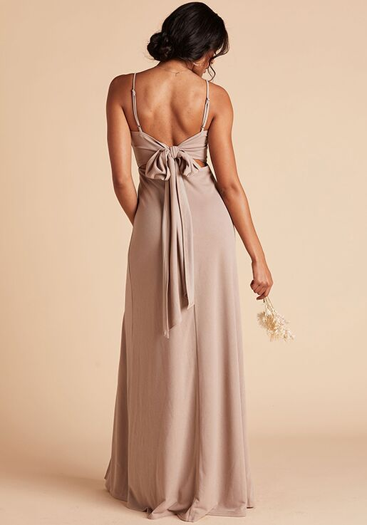 Birdy Grey Benny Crepe Dress in Taupe Scoop Bridesmaid Dress