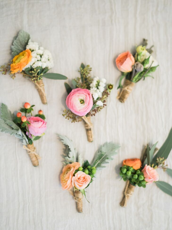 Playful Pink and Peach Ranunculus Boutonnieres