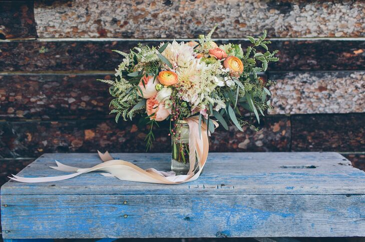 Rustic Bouquet with Garden Roses, Ranunculus, Astilbe and Veronica