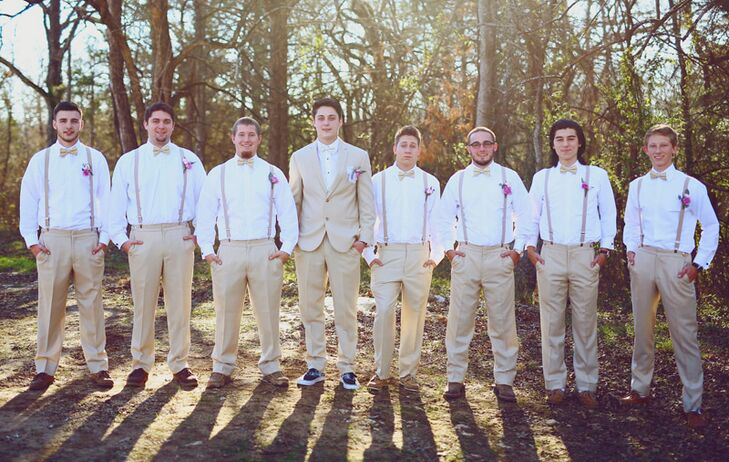"When it came to choosing their wedding party's attire, Madelyn and Ryan knew traditional tuxes and suits weren't going to cut it. ""We wanted our wedding to be completely different from anything else we had ever seen,"" Madelyn says. For Ryan's groomsmen, they opted for a casually cool look, dressing the guys in khaki trousers, crisp, white button-down shirts, bow ties, lavender suspenders and brown dress shoes."
