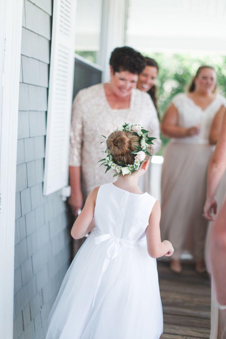 White Flower Girl Dress and Green Flower Crown
