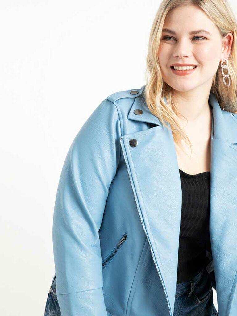 Blue faux leather wedding jacket
