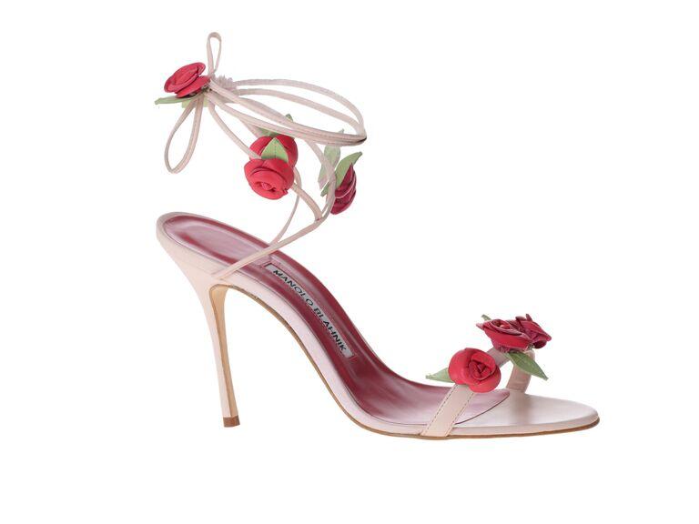 Manolo Blahnik Xafiore Pink Nappa Rosette Sandals