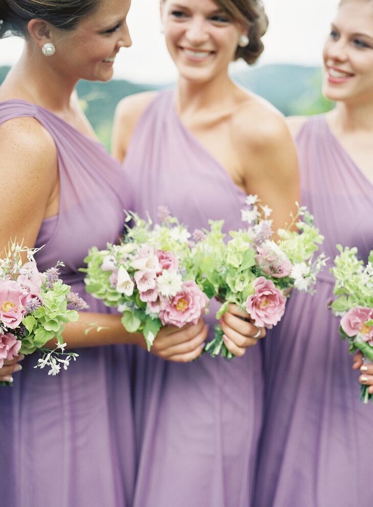 9bf7605bd David's Bridal One-Shoulder Wisteria Purple Bridesmaid Dresses
