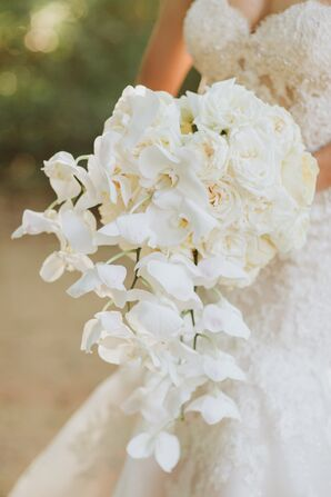 Glamorous White Orchid and Rose Bouquet