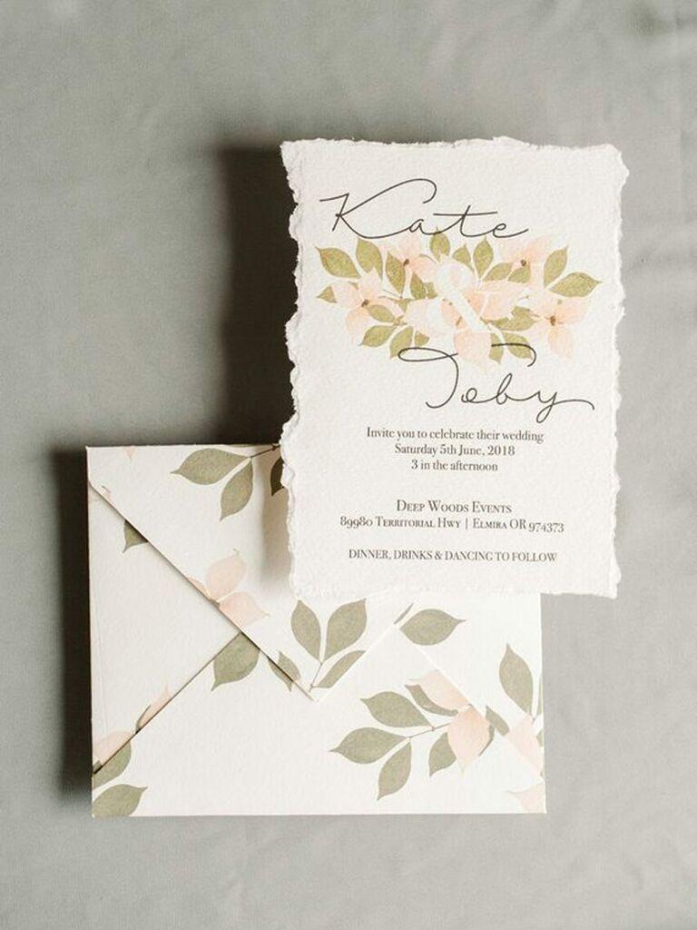 Etsy dogwood deckle edge spring wedding invitation
