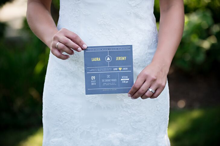 Bride with Modern Blue and Yellow Invitations