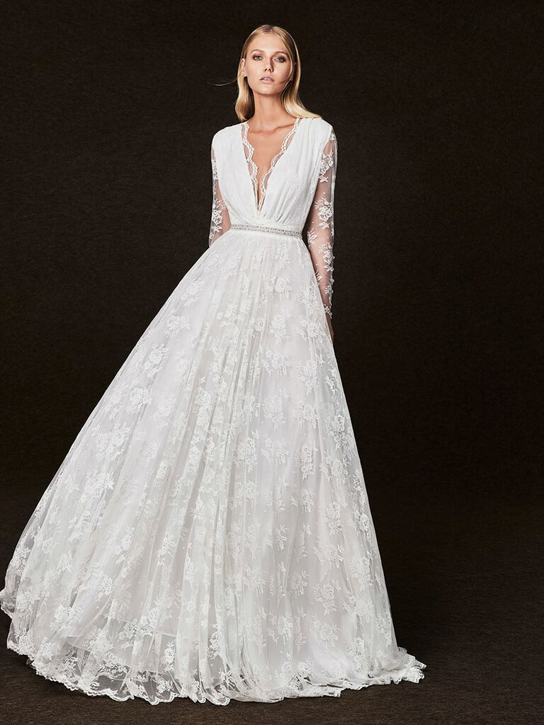 Victoria Kyriakides Fall 2017 lace sleeve v-neck wedding dress with and allover lace full skirt