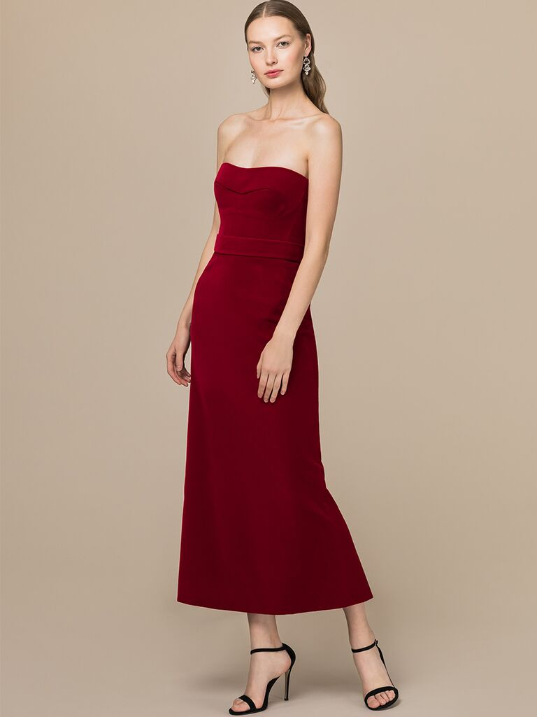 EDEM Demi Couture strapless midi-length red dress
