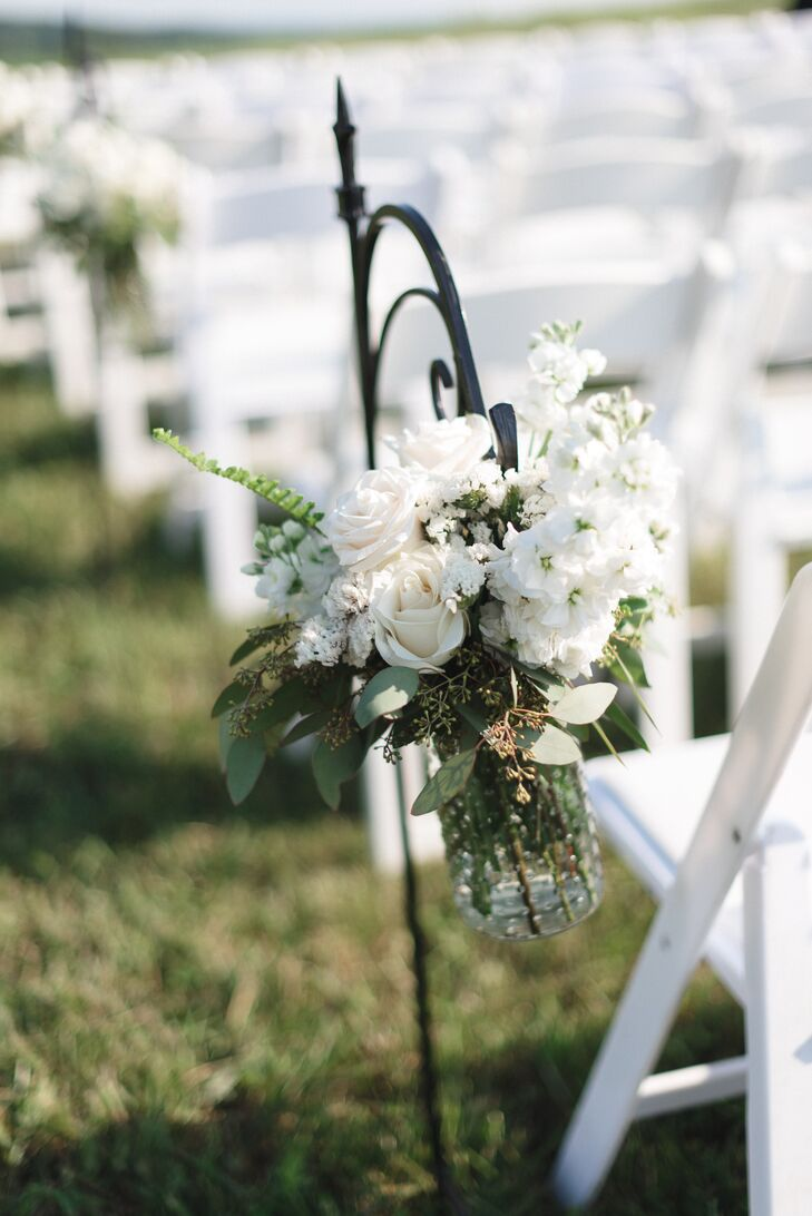 White Rose Shepherd Hook Ceremony Aisle Decor