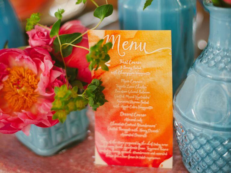 Tie-dye watercolor menu card