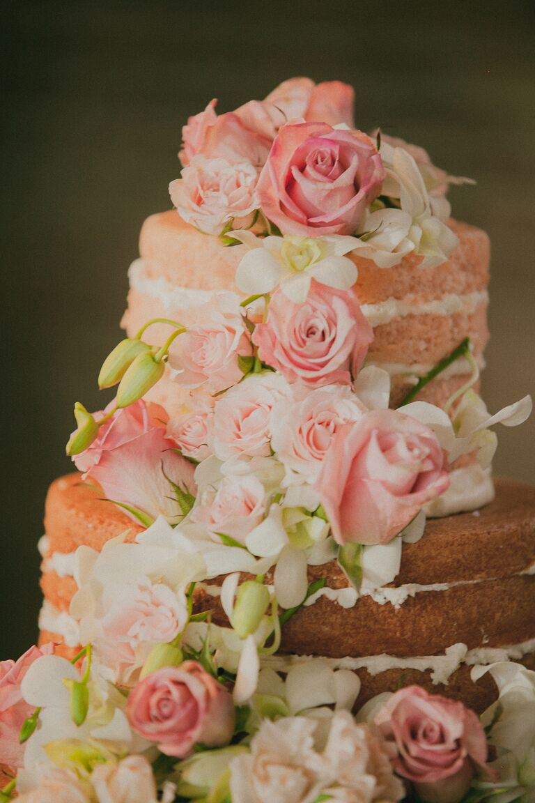 Ombre Pink Champagne Naked Wedding Cake